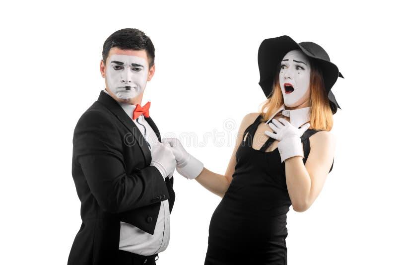Συναισθηματικό να ενεργήσει δύο mimes στοκ φωτογραφίες