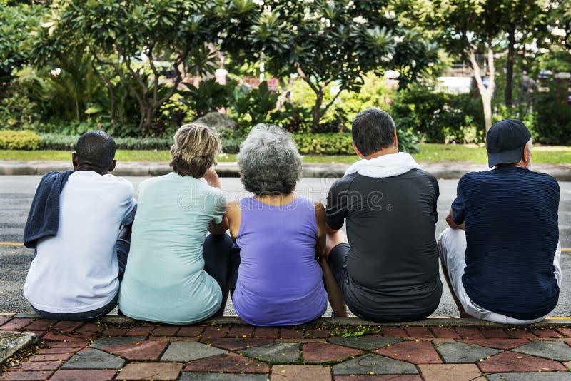 Συναντήστε την επάνω αποσυρμένη έννοια Workout συνταξιούχων ευημερίας στοκ φωτογραφία με δικαίωμα ελεύθερης χρήσης