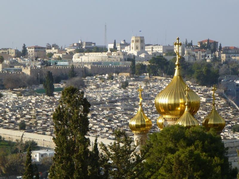 Συναρπαστική άποψη από το υποστήριγμα των ελιών στην Ιερουσαλήμ, Ισραήλ στοκ εικόνες