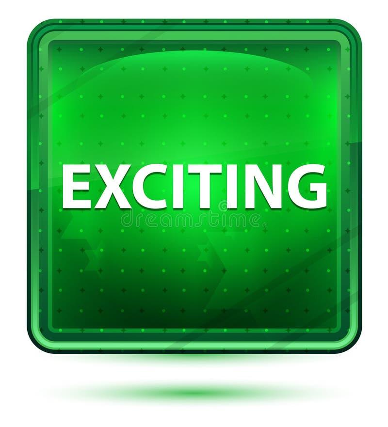 Συναρπαστικό ανοικτό πράσινο τετραγωνικό κουμπί νέου απεικόνιση αποθεμάτων