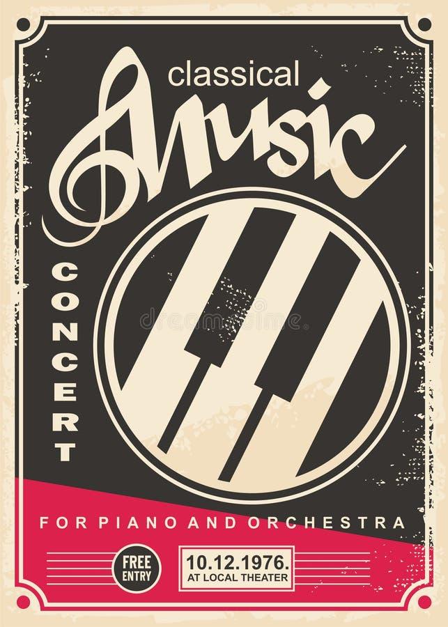 Συναυλία κλασικής μουσικής για το αναδρομικό σχέδιο αφισών πιάνων και ορχηστρών απεικόνιση αποθεμάτων