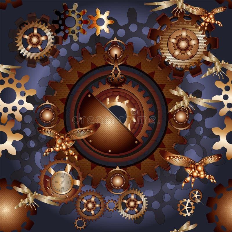 Συνδέει steampunk το άνευ ραφής σχέδιο με τα μηχανικά έντομα ελεύθερη απεικόνιση δικαιώματος