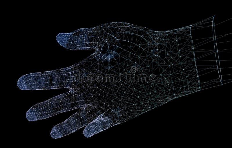 Συνδέσεις δικτύων χεριών, αίσθηση της τρισδιάστατης απεικόνισης τεχνολογίας διανυσματική απεικόνιση