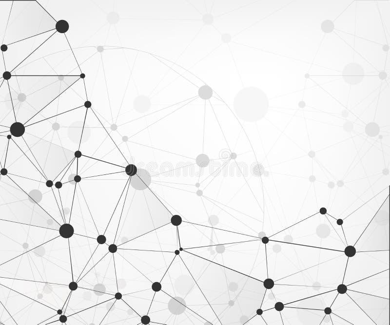 Συνδέσεις παγκόσμιων δικτύων με τα σημεία και τις γραμμές αφηρημένη τεχνολογία ανα&sigm Μοριακή δομή με τα συνδεδεμένα σημεία Vec ελεύθερη απεικόνιση δικαιώματος