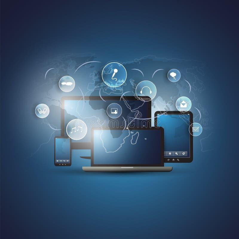 Συνδέσεις ψηφιακών δικτύων, υπόβαθρο τεχνολογίας - έννοια σχεδίου υπολογισμού σύννεφων με τις κινητούς συσκευές, τα εικονίδια και διανυσματική απεικόνιση