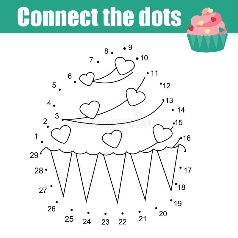 Συνδέστε τα σημεία από το εκπαιδευτικό παιχνίδι παιδιών αριθμών Θέμα τροφίμων, cupcake διανυσματική απεικόνιση
