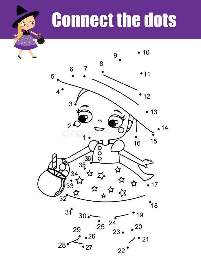 Συνδέστε τα σημεία από το εκπαιδευτικό παιχνίδι παιδιών αριθμών Θέμα αποκριών, χαριτωμένο λίγη μάγισσα απεικόνιση αποθεμάτων