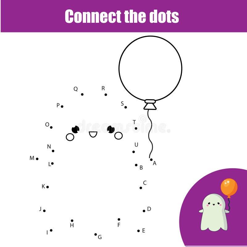 Συνδέστε τα σημεία από το εκπαιδευτικό παιχνίδι παιδιών επιστολών Θέμα αποκριών, χαριτωμένο αλφάβητο εκμάθησης φαντασμάτων διανυσματική απεικόνιση