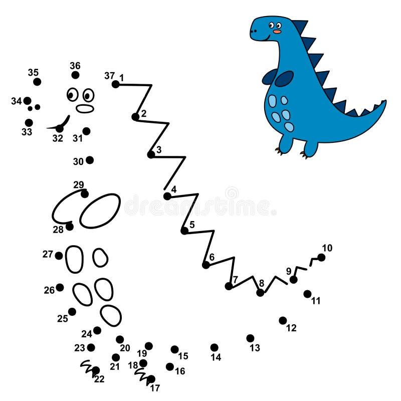 Συνδέστε τα σημεία και σύρετε έναν χαριτωμένο δεινόσαυρο διανυσματική απεικόνιση