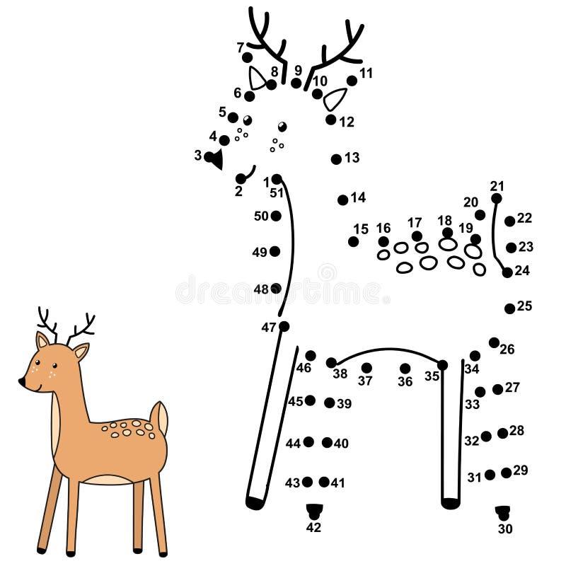 Συνδέστε τα σημεία και σύρετε ένα χαριτωμένο ελάφι Παιχνίδι αριθμών για τα παιδιά απεικόνιση αποθεμάτων
