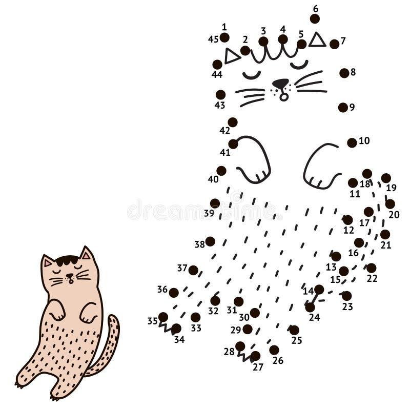 Συνδέστε τα σημεία και σύρετε μια γάτα ύπνου ελεύθερη απεικόνιση δικαιώματος