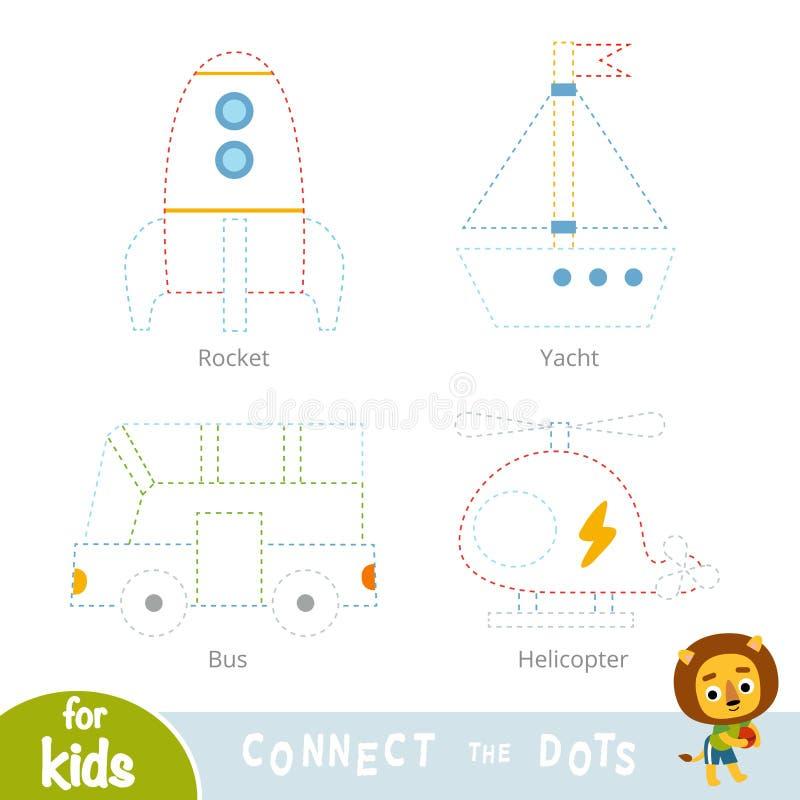 Συνδέστε τα σημεία, παιχνίδι εκπαίδευσης για τα παιδιά Σύνολο μεταφορών ελεύθερη απεικόνιση δικαιώματος