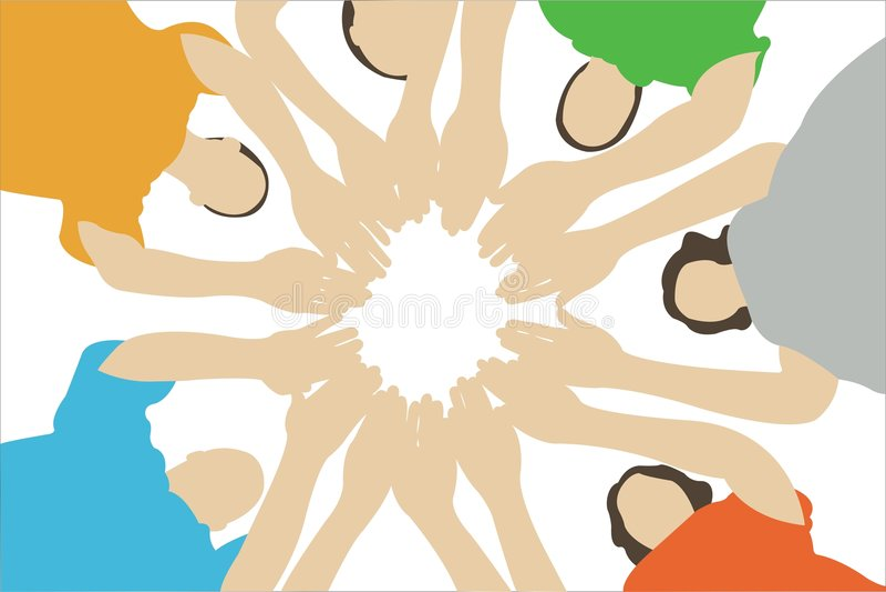 συνδεδεμένα χέρια επτά φίλ&o απεικόνιση αποθεμάτων