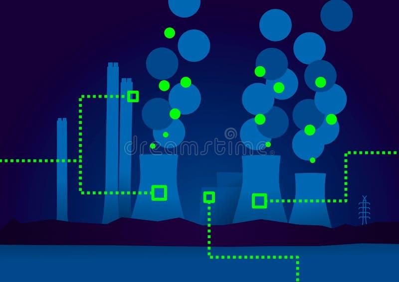 Συνδεδεμένη απεικόνιση εγκαταστάσεων παραγωγής ενέργειας απεικόνιση αποθεμάτων