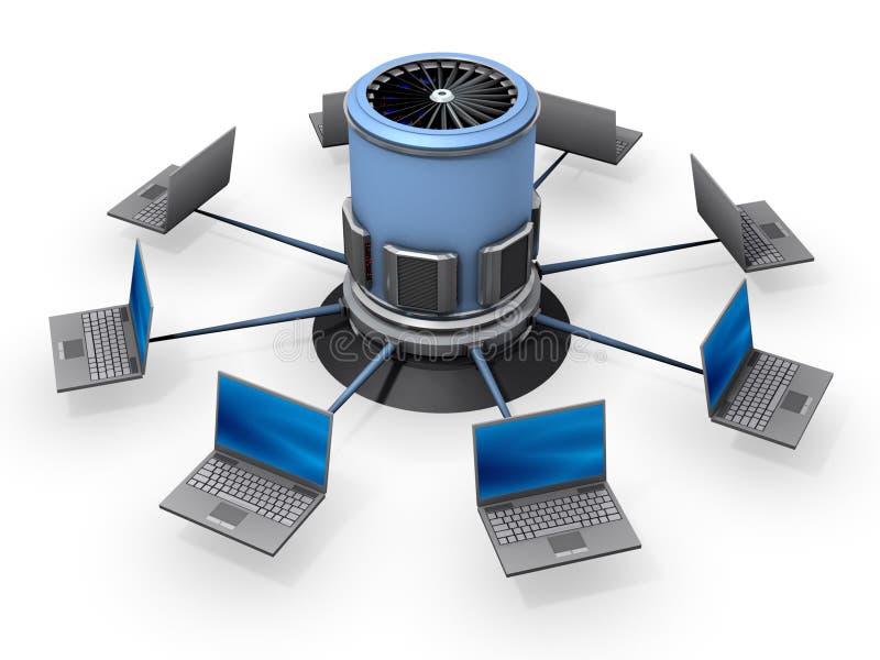 συνδεδεμένος κεντρικός υπολογιστής σημειωματάριων ελεύθερη απεικόνιση δικαιώματος