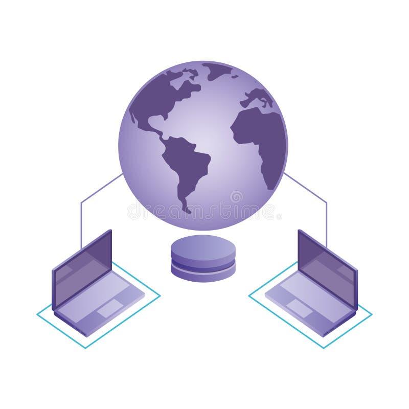 Συνδεδεμένο κόσμος δίκτυο κεντρικών υπολογιστών βάσεων δεδομένων lap-top απεικόνιση αποθεμάτων