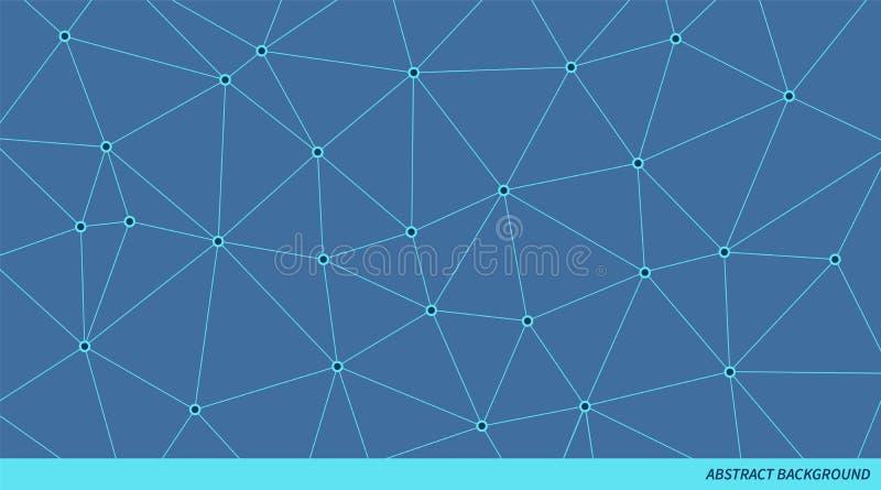 Συνδεδεμένο περίληψη διανυσματικό σχέδιο τριγώνων Νευρικό υπόβαθρο δικτύων Γεωμετρική polygonal απεικόνιση διανυσματική απεικόνιση