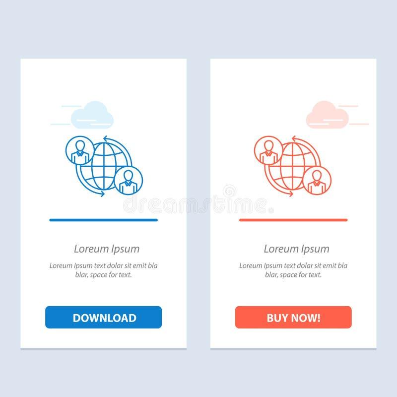 Συνδεμένες, οι συνδέσεις, ο χρήστης, Διαδίκτυο, σφαιρικοί μπλε και το κόκκινο μεταφορτώνουν και αγοράζουν τώρα το πρότυπο καρτών  απεικόνιση αποθεμάτων