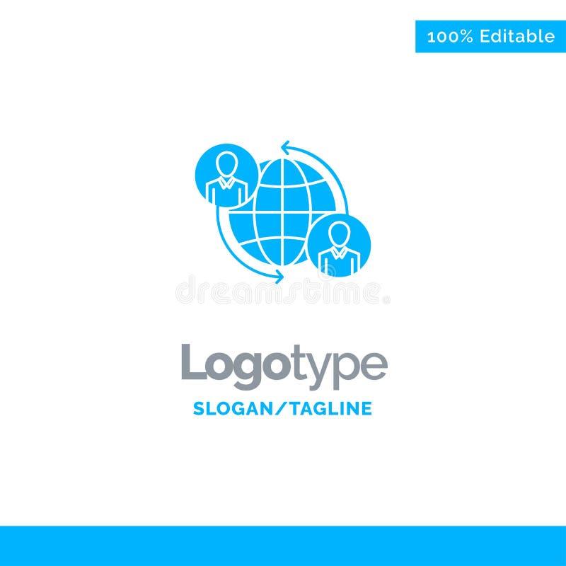 Συνδεμένος, συνδέσεις, χρήστης, Διαδίκτυο, σφαιρικό μπλε στερεό πρότυπο λογότυπων r διανυσματική απεικόνιση