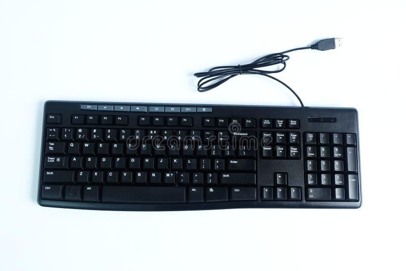 Συνδεμένο με καλώδιο πληκτρολόγιο που απομονώνεται στο άσπρο υπόβαθρο στοκ εικόνες με δικαίωμα ελεύθερης χρήσης