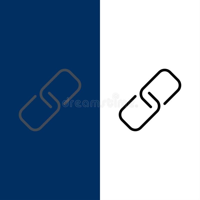 Συνδετήρας, έγγραφο, καρφίτσα, εικονίδια μετάλλων Επίπεδος και γραμμή γέμισε το καθορισμένο διανυσματικό μπλε υπόβαθρο εικονιδίων ελεύθερη απεικόνιση δικαιώματος