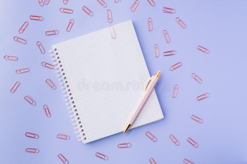 Συνδετήρες σημειωματάριων, μανδρών και εγγράφου Θηλυκό σύνολο πρόσκληση συγχαρητηρίων καρτών ανασκόπησης Εκλεκτική εστίαση στοκ εικόνα