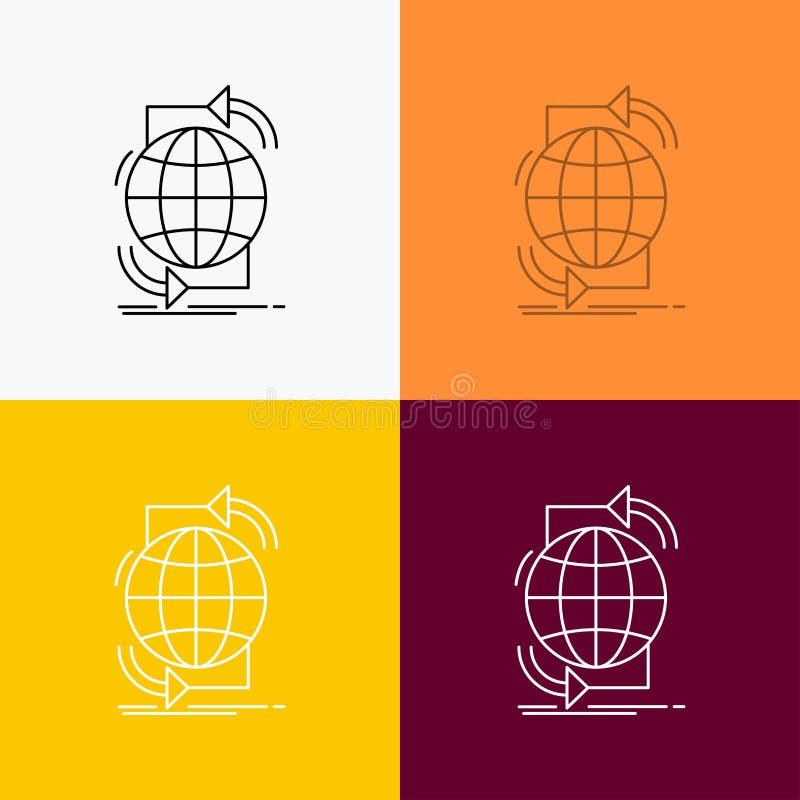 Συνδετικότητα, σφαιρική, Διαδίκτυο, δίκτυο, εικονίδιο Ιστού πέρα από το διάφορο υπόβαθρο Σχέδιο ύφους γραμμών, που σχεδιάζεται γι απεικόνιση αποθεμάτων