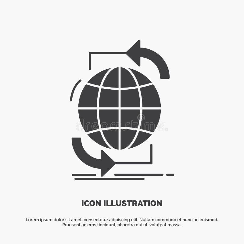 Συνδετικότητα, σφαιρική, Διαδίκτυο, δίκτυο, εικονίδιο Ιστού glyph διανυσματικό γκρίζο σύμβολο για UI και UX, τον ιστοχώρο ή την κ διανυσματική απεικόνιση