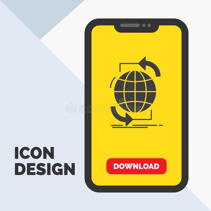 Συνδετικότητα, σφαιρική, Διαδίκτυο, δίκτυο, εικονίδιο Glyph Ιστού σε κινητό για Download τη σελίδα r διανυσματική απεικόνιση