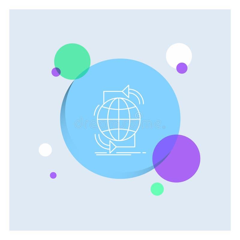Συνδετικότητα, σφαιρική, Διαδίκτυο, δίκτυο, Ιστού άσπρο γραμμών υπόβαθρο κύκλων εικονιδίων ζωηρόχρωμο διανυσματική απεικόνιση