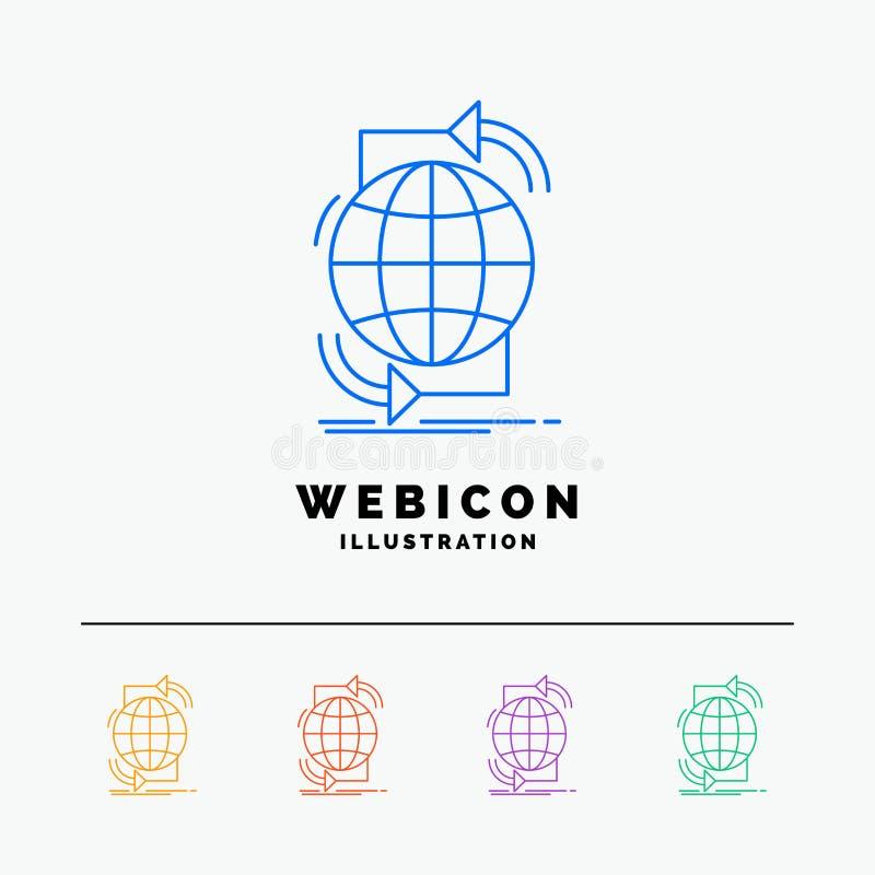 Συνδετικότητα, σφαιρική, Διαδίκτυο, δίκτυο, Ιστός 5 πρότυπο εικονιδίων Ιστού γραμμών χρώματος που απομονώνεται στο λευκό r απεικόνιση αποθεμάτων
