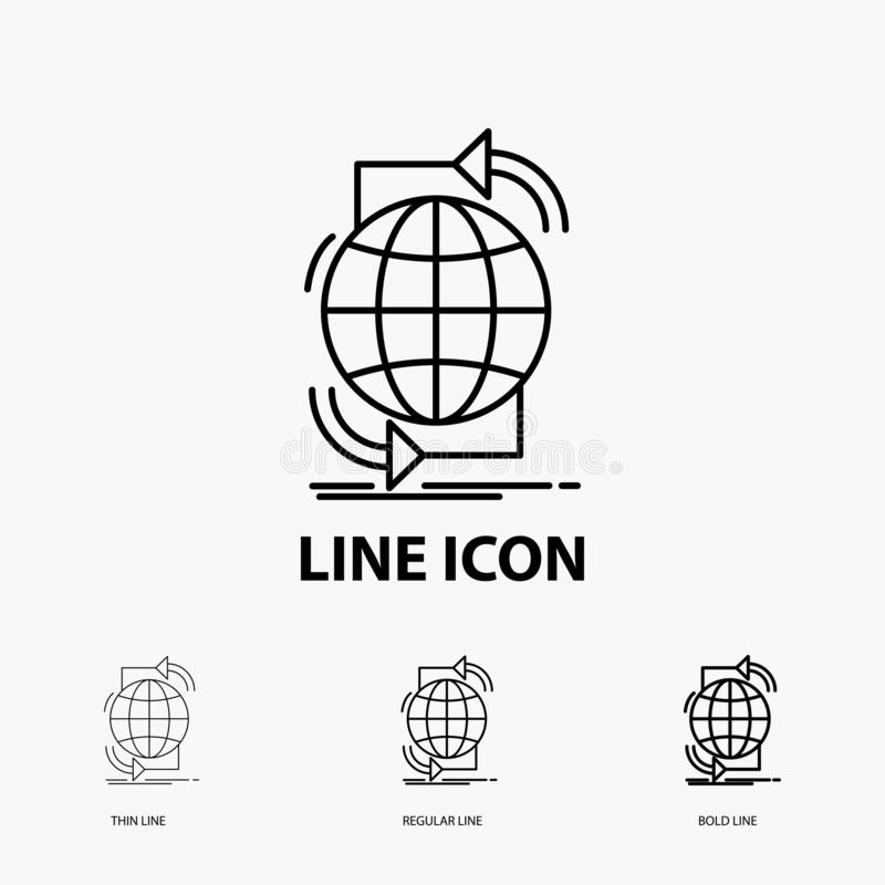 Συνδετικότητα, σφαιρικός, Διαδίκτυο, δίκτυο, εικονίδιο Ιστού στο λεπτό, κανονικό και τολμηρό ύφος γραμμών r απεικόνιση αποθεμάτων