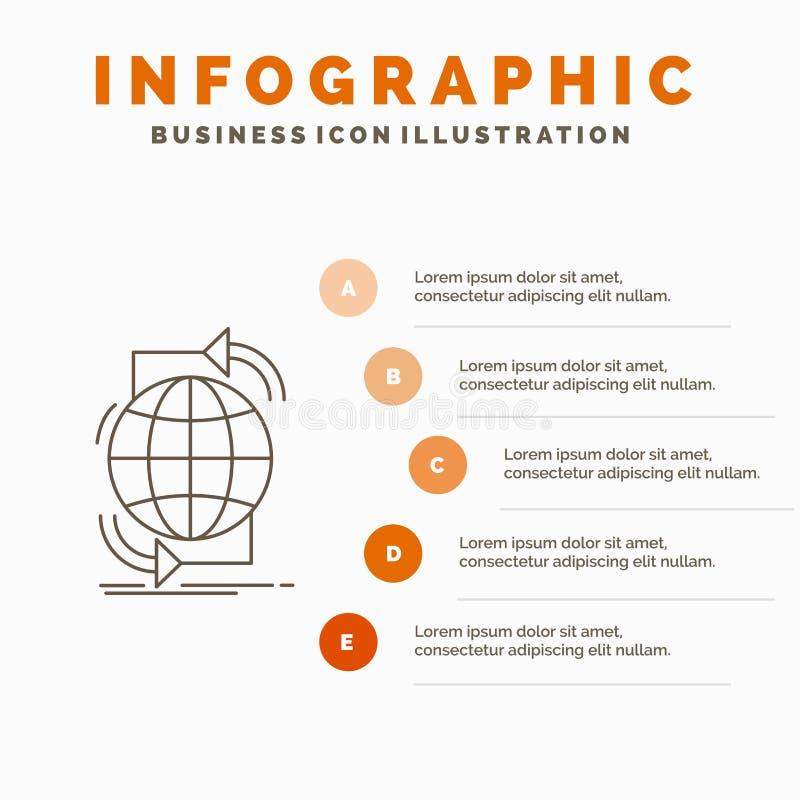 Συνδετικότητα, σφαιρικός, Διαδίκτυο, δίκτυο, πρότυπο Infographics Ιστού για τον ιστοχώρο και παρουσίαση Γκρίζο εικονίδιο γραμμών  διανυσματική απεικόνιση