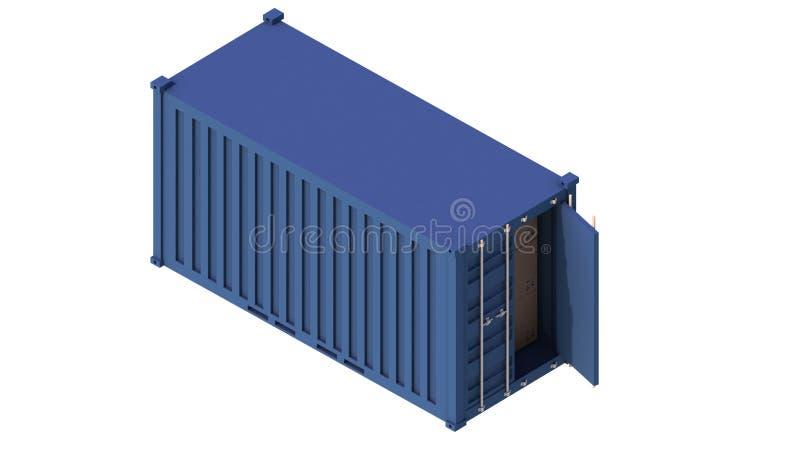 Συνδυασμένη isometric τρισδιάστατη παράδοση εμπορευματοκιβωτίων φορτίου Η βιομηχανία φορτίου, εξαγωγή, βιομηχανικά αγαθά αποθήκευ διανυσματική απεικόνιση