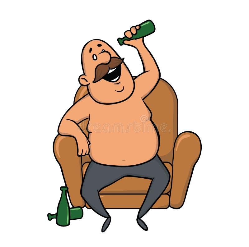 Συνεδρίαση ατόμων σε μια καρέκλα και μια μπύρα κατανάλωσης Απεικόνιση, που απομονώνεται διανυσματική στο λευκό απεικόνιση αποθεμάτων