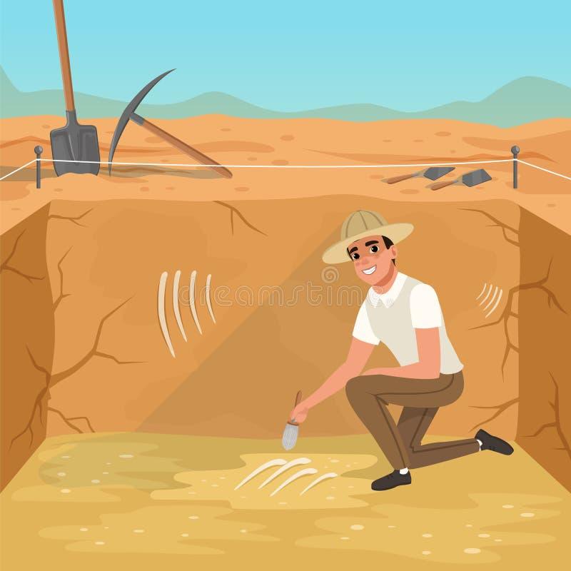 Συνεδρίαση ατόμων στο τετραγωνικό κοίλωμα και σκουπίζοντας ρύπος από τα κόκκαλα σκελετών s Ανασκαφές του αρχαίου ενταφιασμού Αρχα ελεύθερη απεικόνιση δικαιώματος
