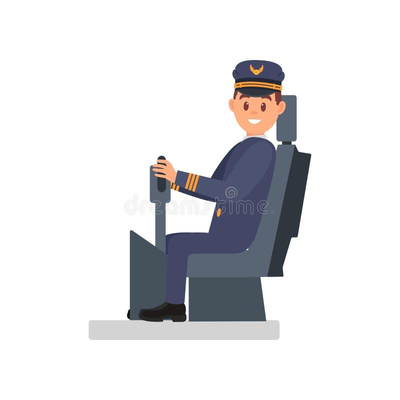 Συνεδρίαση ατόμων χαμόγελου στην καρέκλα καπετάνιου s Επαγγελματικός πειραματικός του επιβάτη αεροπλάνου Απομονωμένη επίπεδη διαν διανυσματική απεικόνιση