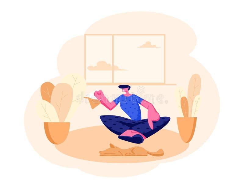 Συνεδρίαση ατόμων χαμόγελου στο πάτωμα με το δοχείο τσαγιού στο εσωτερικό εσωτερικό χεριών στο σπίτι Αρσενικός χαρακτήρας που έχε ελεύθερη απεικόνιση δικαιώματος