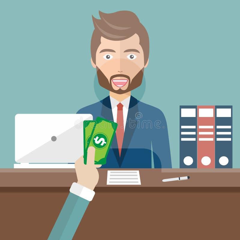 Συνεδρίαση αφηγητών τράπεζας πίσω από το γυαλί Υπάλληλος ατόμων σε ένα γραφείο τραπεζών που λαμβάνει τα χρήματα Επίπεδο διάνυσμα διανυσματική απεικόνιση
