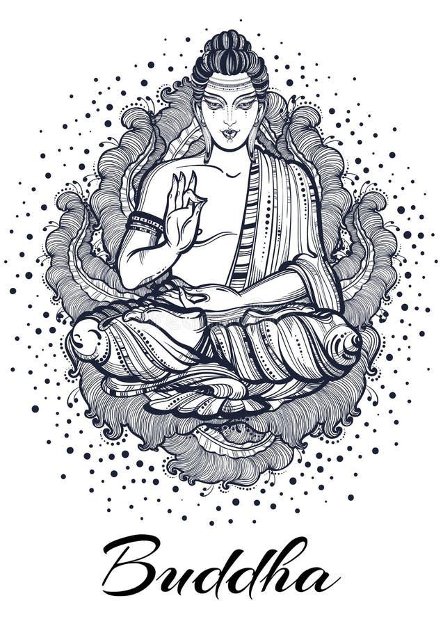 Συνεδρίαση Βούδας πέρα από τα υψηλός-high-detailed floral στοιχεία Hand-drawn όμορφη διανυσματική τέχνη, γραφική απεικόνιση που α απεικόνιση αποθεμάτων