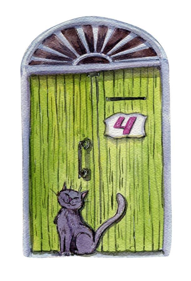 Συνεδρίαση γατών στην πράσινη πόρτα αριθμός τέσσερα στοκ φωτογραφία