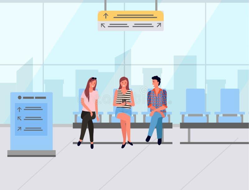 Συνεδρίαση επιβατών στην αίθουσα αναμονής, διάνυσμα ταξιδιού απεικόνιση αποθεμάτων