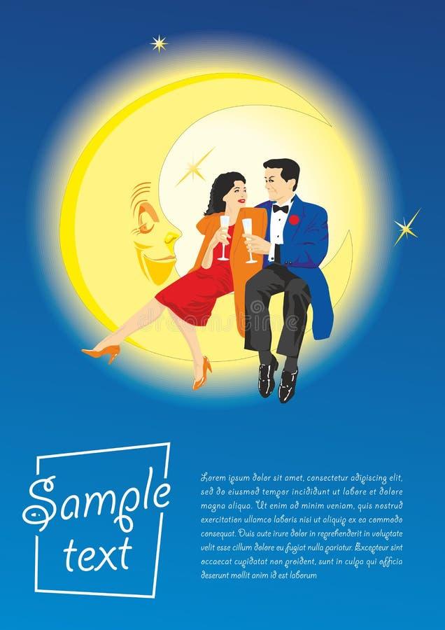 Συνεδρίαση ζευγών αγάπης στο φεγγάρι Το υπόβαθρο έννοιας για την ημέρα του βαλεντίνου, αφίσες, γαμήλιες προσκλήσεις ελεύθερη απεικόνιση δικαιώματος