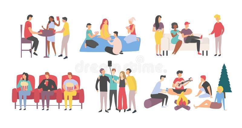 Συνεδρίαση και χόμπι των φίλων μαζί, αναψυχή διανυσματική απεικόνιση