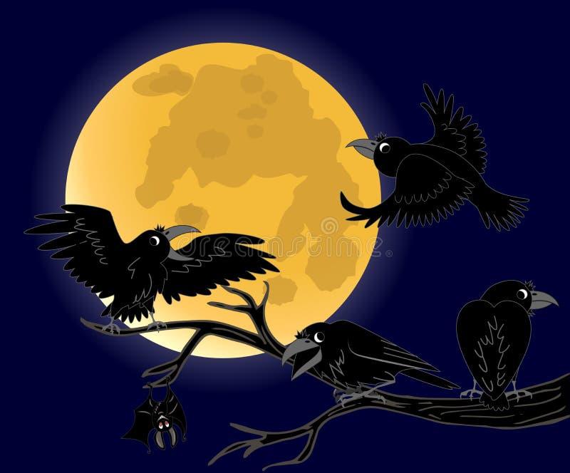 Συνεδρίαση κοράκων νεκροί μαύροι κλάδοι διανυσματική απεικόνιση