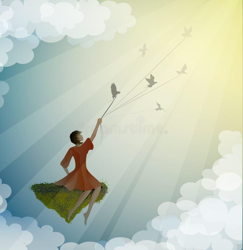 Συνεδρίαση κοριτσιών στον πετώντας βράχο και κράτημα του περιστεριού, τρόπος στο όνειρο, ζωή στον πετώντας βράχο, ελεύθερη απεικόνιση δικαιώματος