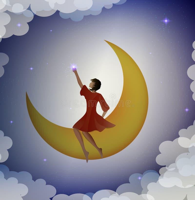 Συνεδρίαση κοριτσιών στο φεγγάρι και σχετικά με το αστέρι, απεικόνιση αποθεμάτων