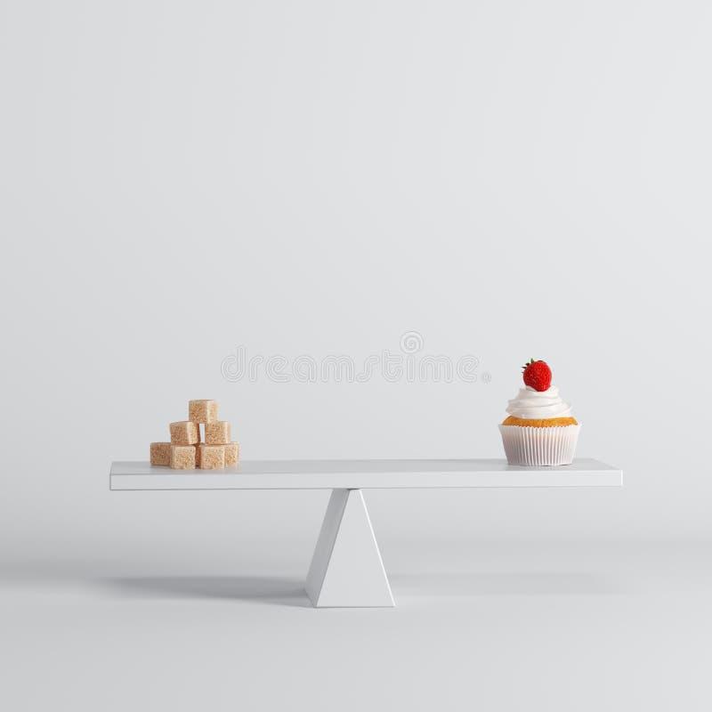 Συνεδρίαση μήλων κέικ φλυτζανιών seesaw με τους κύβους ζάχαρης στο αντίθετο άκρο στο άσπρο υπόβαθρο διανυσματική απεικόνιση