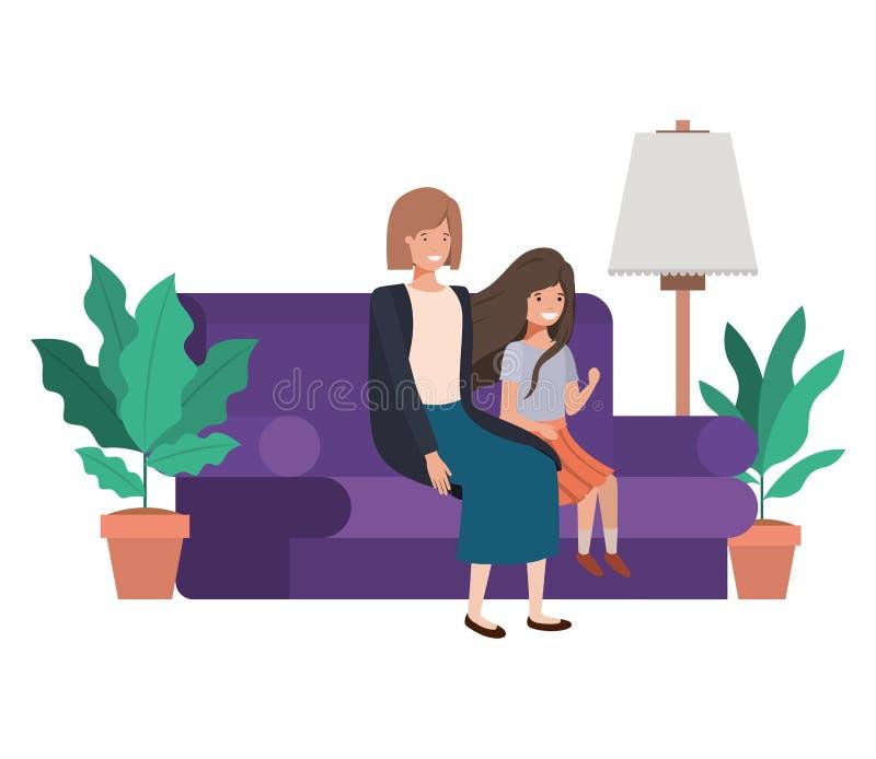 Συνεδρίαση μητέρων και κορών στο χαρακτήρα ειδώλων καναπέδων απεικόνιση αποθεμάτων