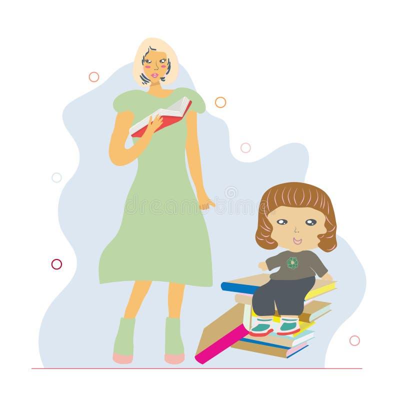 Συνεδρίαση μικρών κοριτσιών στα βιβλία και τη μητέρα που διαβάζουν ένα βιβλίο ελεύθερη απεικόνιση δικαιώματος